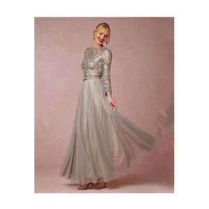 BHLDN x Tadashi Shoji Formal Gown, 8, silver/gray